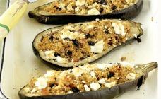 Couscous stuffed eggplant