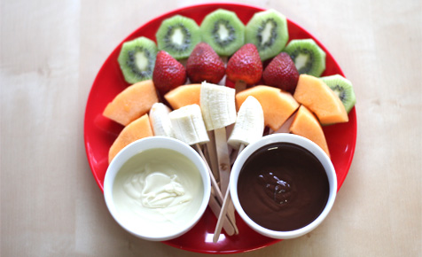 Fruit sticks with chocolate dip