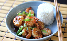 Ginger and garlic prawns