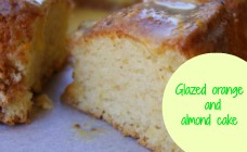 Glazed orange and almond cake