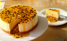 Mango cheesecake with passionfruit sauce