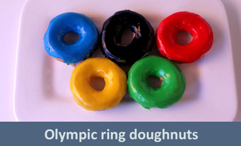 Olympic ring doughnuts
