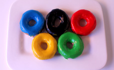 Olympic rings doughnuts