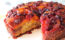 Peach and raspberry upside down cake
