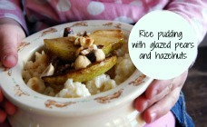 Rice pudding with glazed pears and hazelnuts