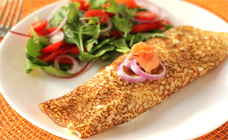 Smoked salmon crepes