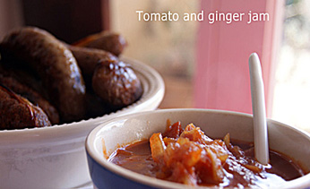 Honeyed chipolatas with tomato and ginger jam