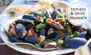 Tomato and chilli mussels with sourdough garlic bread