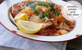 Tomato, fish and potato stew