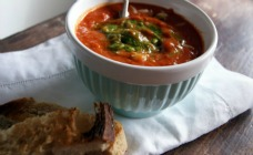Tomato, risoni and pesto soup