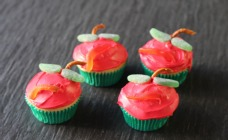 Apple and worm cupcakes