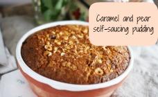 Caramel and pear self-saucing pudding