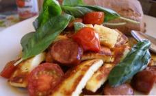 Haloumi with chorizo and tomatoes