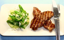 Lamb Steaks with Minty Pea Salad