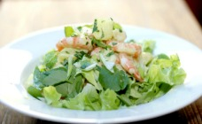 Prawn and potato salad with avocado dressing