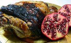 Roast lamb with pomegranate glaze
