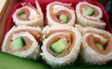 Salmon and cucumber sandwich sushi