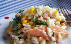 Salmon, corn and dill risotto