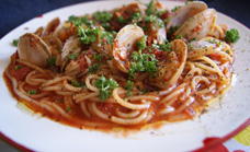 Tomato chilli and clam spaghetti