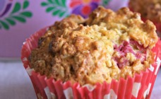 Wholemeal raspberry and walnut muffins