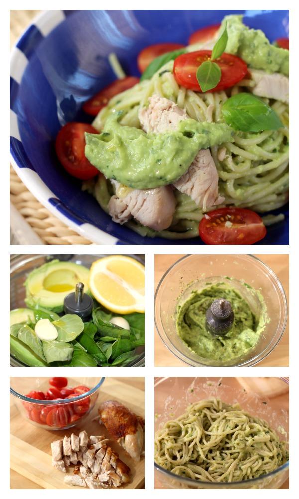 Creamy avocado and chicken pasta