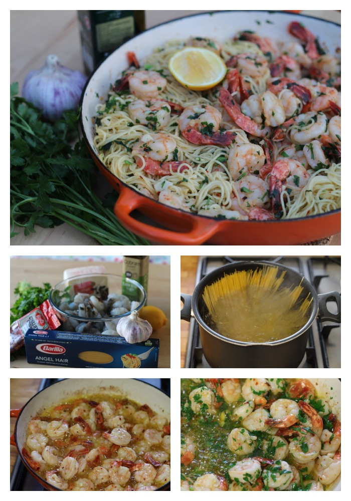 Lemon and garlic prawn pasta