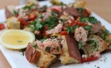 One pan roasted salmon and bread salad