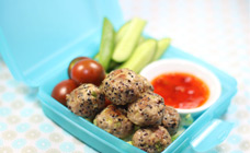 Pork and quinoa balls with sweet chilli sauce