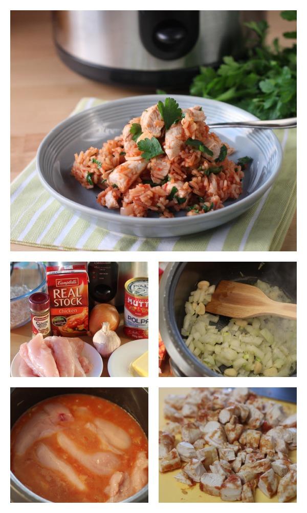 Rice cooker Spanish chicken rice