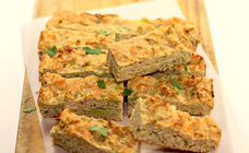Salmon and leek slice