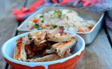 Sticky herb and lemon ribs with rice salad