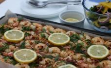 Oven-baked garlic prawns