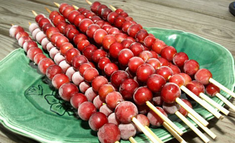Frozen berry skewers