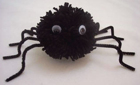 Make pompom spiders