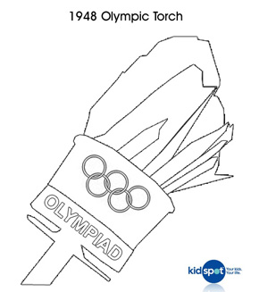 Vintage Olympic Torch colouring page
