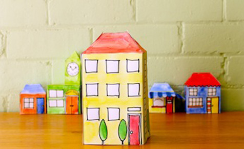 Pop-up paper apartment block