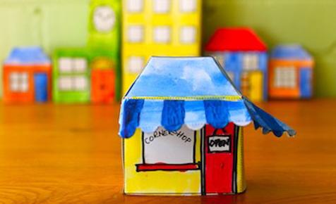 Pop-up paper house cornershop