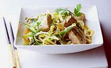 Fresh tuna teriyaki with udon noodles
