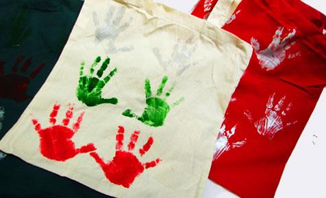 Handprint tote bag