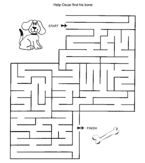 Free Online Printable Kids Games - Dog And Bone Maze