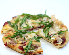 Turkey, camembert and cranberry pizza