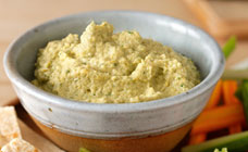 Lemon, coriander and green olive hummus