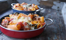 Baked penne with fennel meatballs