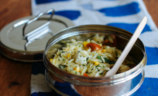 Summer pasta salad with tangy mint dressing