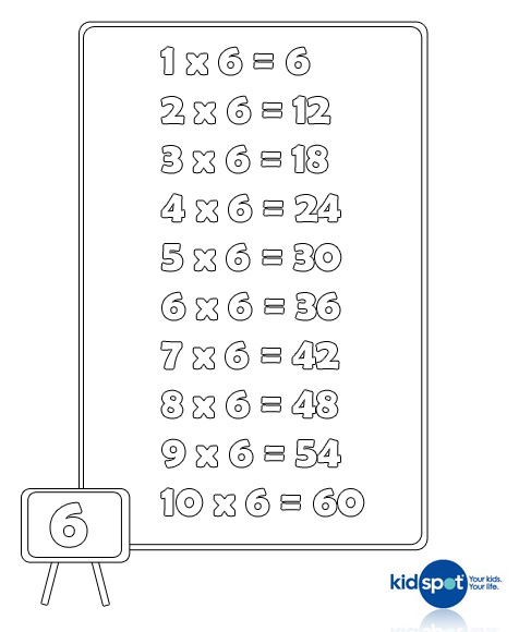 6 Times Tables - Tmes Table Charts - Multiplication