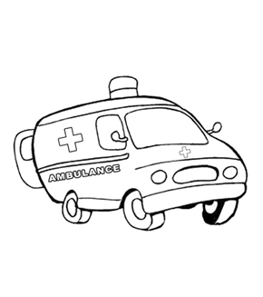 Ambulance Colouring Page