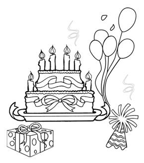 Birthday Fun Colouring Page
