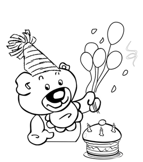 Birthday Teddy Colouring Page