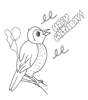 Birthday sign Colouring Page