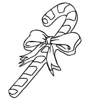 Candy Cane Colouring Page